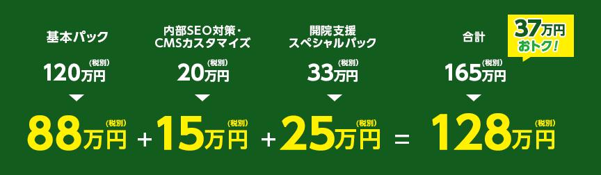 基本パック+内部SEO対策CMSカスタマイズ+開院支援スペシャルパック 同時ご契約で26.7万円お得になります!