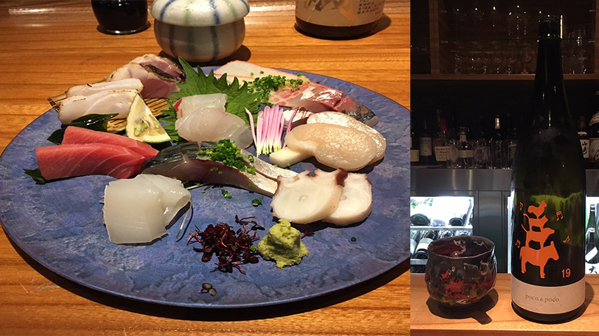 刺し身盛り合わせと日本酒